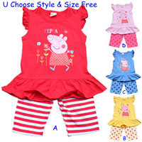 Unisex Spring / Autumn Short hot sale 1set retail 3~9T 100% summer cotton peppa pig & george baby girls boys top & pants sets kids apparel baby pajamas pjs suits Melee