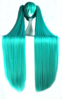 Wholesale 100cm Vocaloid Hatsune Miku Blue Green Straight Cosplay Costume Wig inches High Temperature Fiber Wig BW017