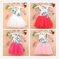 Wholesale Fancy Big Flowers Printed Sleeveless Children Girls Vintage Pompon Veil Dress Baby Girl Fashion Party Dresses Child Clothing B3156