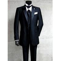 men slim fit suits - 2015 Slim Fit Fashion Black Groom suits Wedding suits for men Groomsmen Suits Jacket Pants Tie Vest beast mens Suit