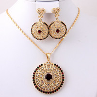 Earrings & Necklace costume jewelry - Factory Sale New Fashion African Costume Jewelry Sets For Women K Gold Plated Pendant Necklace Earrings Set Multi Crystal Rhinestone