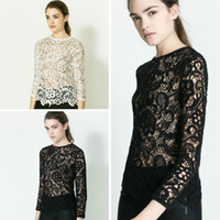 Formal Women Lace Spring Blouses New LACE Hollow Shirts Elegant Sexy Style Womens Clothes Tops A310
