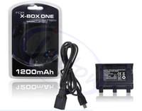al por mayor x caja del controlador inalámbrico-Cable micro del usb del paquete de la batería recargable del regulador sin hilos de la alta calidad 65PCS / Lot 1200mAh X-BOX XBOX one de la alta calidad DHL libera el envío