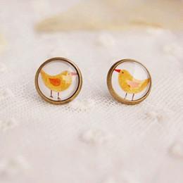12mm Kawaii Yellow Bird Stud Earrings for Girls Bronzed Earrings Vintage Jewelry rd01