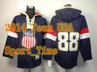 Ice Hockey Men Full 2014 New Team USA #88 Patrick Kane Hockey Hoodies Jersey Navy Blue Cheap Stitched Jersey high quality popular hooded sweatshirt for olympics