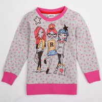 Wholesale F4716 Nova m to y cute baby girl clothes with fashion girls amp little dog printed amp beaded elastane cotton crew neck t shirt hoodie