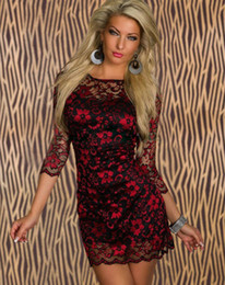 Wholesale Sexy Women s Dress OL Lady Dress Casual Dresses Eve Lace Evening Dress Red Gold Pink Blue CB9528