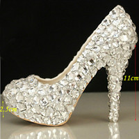 Heels arrival platform shoes - New Arrival Elegant Diamond Wedding Shoes Fashion Beautiful Crystal High Heels Glittering Platform Woman Pumps Banquet Prom Shoes