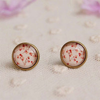 Wholesale Vintage Cherry Stud Earrings for Girls Bronzed Earrings rd04