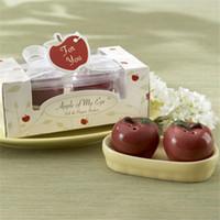 apple ceramic - Wedding Gift Favor Double Red Apple Ceramic Salt and Pepper Shaker