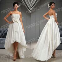 Wholesale Lovely Wedding Dresses with Strapless Lace Appliques Beaded Pearl Bow Handmade Flowers High Low A Line Backless Wedding Gown