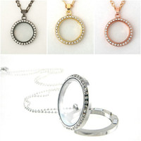 Round CZ Crystal Floating Charm Glass Living Memory Locket N...