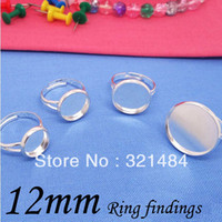 Connectors Jewelry Findings Yes Wholesale 200 pcs 12mm Silver Plated Adjustable Ring Bases Blanks Settings For Jewelry