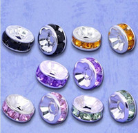 Wholesale mm Silver Plated Flat Side Random Mixed Rhinestone Rondelle Spacers Beads B Rhinestone