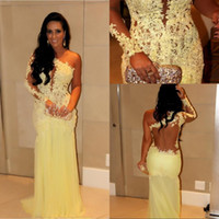 Reference Images One-Shoulder Tulle 2014 Best Selling Lace Evening Dresses Yellow Appliqued Single Long Sleeves Sheer Back Sheath Floor-Length Tulle Skirt Celebrity Prom Gowns