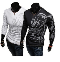 Wholesale European and American style dragon totem tattoo long sleeve Brand t shirt for Men T Shirts Mens Casual Long Sleeves O neck T Shirts