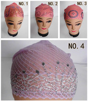 Wholesale HOT SALE Muslim Headscarf Hijab Hat Multicolor Lace Bonnet Cap Artificial Diamonds Primer Cap