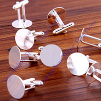 Wholesale 2016 new charming mm DIY Silver Plated Round Metal Cufflink Backs trendy men jewelry birthday christmas gift