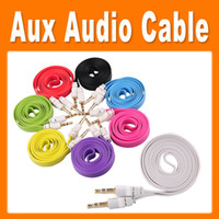 Wholesale 3 mm New Stereo Audio Cable AUX Cable flat noodles jack cable for cellphone earphone mp4 DHL Freeship