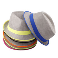 Wholesale Colors New Fashion Unisex Mens Womens Summer Sun Beach Fedora Trilby Gangster Linen Panama Jazz Hat Cap