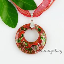 lampwork murano glass pendants circle silver foil millefiori circle silver foil millefiori necklaces with pendants High fashion jewelry