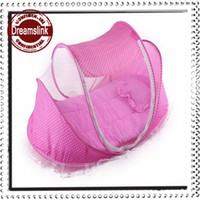 Wholesale 2014 The new high grade gold velvet baby mosquito nets mosquito Nets breathable baby crib mattresses folding bed colors pink blue pc