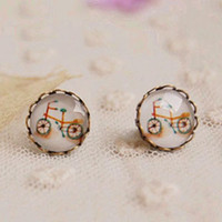 bicycle earrings - Bizarre Bicycle Stud Earrings for Girls Bronzed Earrings Christmas Jewelry mm rd08