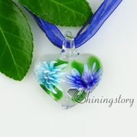 colgantes del corazón de cristal flores de cristal de murano italianos dentro de collares con colgantes de joyería de moda de joyería barata de la alta joyería china