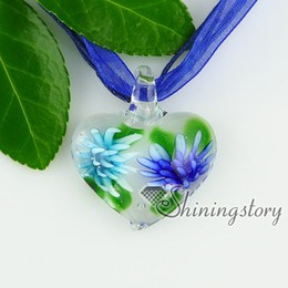 glass heart pendants Italian murano glass flowers inside necklaces with pendants Cheap china jewelry fashion jewelry High fashion jewelry