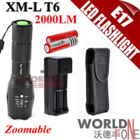 Wholesale FS UltraFire A100 CREE XM L T6 LM LED Flashlight Zoomable Torch Battery Charger Holster WF LF342 Worldfone