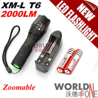 Wholesale FS UltraFire A100 LM LED Flashlight Adjustable Focus Zoomable CREE XM L T6 LED Torch Battery Charger WF LF34