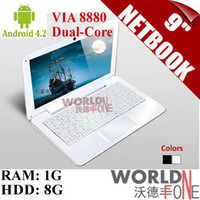 Wholesale FS quot inch Netbook Mini Laptop Android VIA Dual Core HDMI WIFI G RAM G HDD Black White Russian Keyboard Option