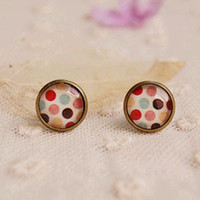 Stud american ideals - 2014 New Arrival Fashion Colorful Dots Stud Earrings for Girls Ideal Christmas Gifts mm rd18