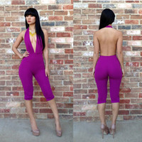 Wholesale Sexy Women Club One piece Purple Jumpsuit Bodycon Tight Jumpsuit Sexy V Neck Halter Backless Clubwear Bandage Romper