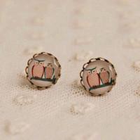 Stud owl earrings - New Owl Stud Earrings Vintage Bronzed Earrings mm rd22