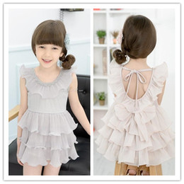 phelfish 2015 Kids Girls Backless Ruffle Tulle lace dress Baby girl Chiffon Cake Ruffle dresses Babies Korean princess clothes