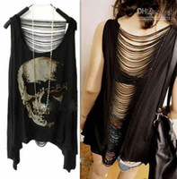 Wholesale Hot sale Fashion Women clothing Vintage Tassel Open Back SKULL PUNK Singlet Tank Top long Tee Shirt SEXY lady