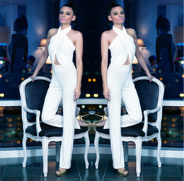 New White Women Cross Front Halter Bodycon Jumpsuits One Piece Romper Stretch Loose Pants Sexy Backless Suits