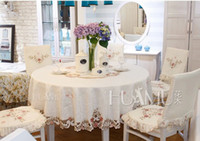 Wholesale Europe style embroidered tablecloth dining table cloth chair cover cushion fashion fabric embroidered rustic