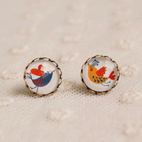 Stud american birds - Mismatch Couple Birds Stud Earrings Bronzed Earrings Valentine Jewelry mm rd26