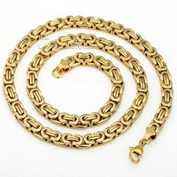 Wholesale mm MENS Boys Chain Byzantine Stainless Steel Necklace Gold Fashion Chain Jewelry KN189 mm inch