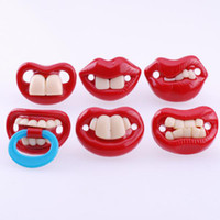Newborn  5.2 cm x 3.2 cm 2.6 cm Red Funny Silicone Pacifiers Baby Teether OPP pack Pacifier Pacy Orthodontic Nipples Novelty gifts Baby care baby products