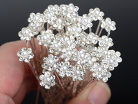 Wholesale 200Pcs Wedding Bridal Pearl Flower Crystal Hair Pins Clips Bridesmaid