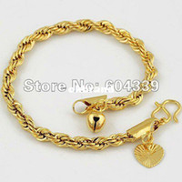 Wholesale Womens Girls Rope Chain GF Jewelry K Gold Filled Heart Bell Charm Bracelet GB38