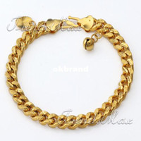 Wholesale CUSTOMIZE INCH mm Womens Girls Chain bracelet Hammered Cut Curb Cuban Gold Filled GF Bracelet Heart Love Bell Charms GB176