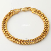 Wholesale Customized MM Wide MENS BOYS Chain Bracelet Double Close Cuban Link Bracelet K Gold Filled Bracelet KGF Jewelry