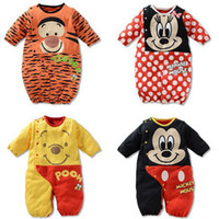 Wholesale NEW Baby romper round collar sleeping bag mixed colors bodysuit bargain price pajamas pure cotton jumpers