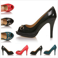 Wholesale New women designer classic peep toe genuine leather high heels work shoes ladies stiletto heel wedding pumps