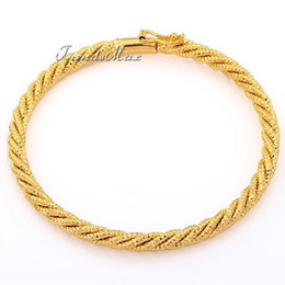 Wholesale mm Shiny Frosted Wide Rope Babies Kids Childrens18K Yellow Gold Filled Bangle Bracelet18KGF Jewelry GB239