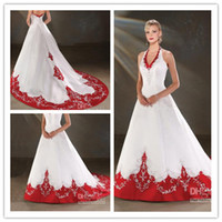 Wholesale White and Red A line Halter V Neck Embroidered Bodice Satin Chapel Train Wedding Dress Bridal Gown